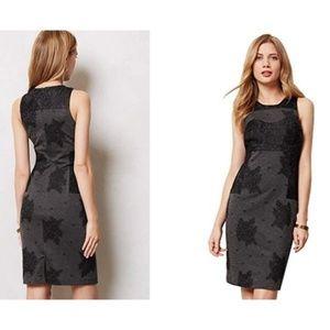 Anthropologie Maeve Flocked Lace Column Dress